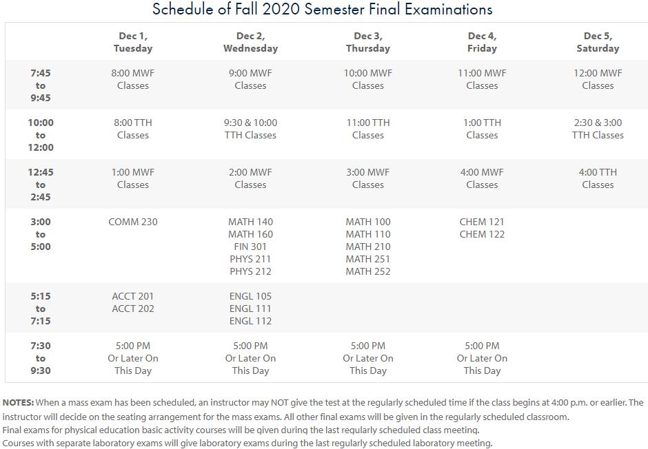 view full fall 2020 exam schedule on UTM registrar's website