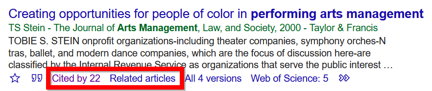 example of Google Scholar links