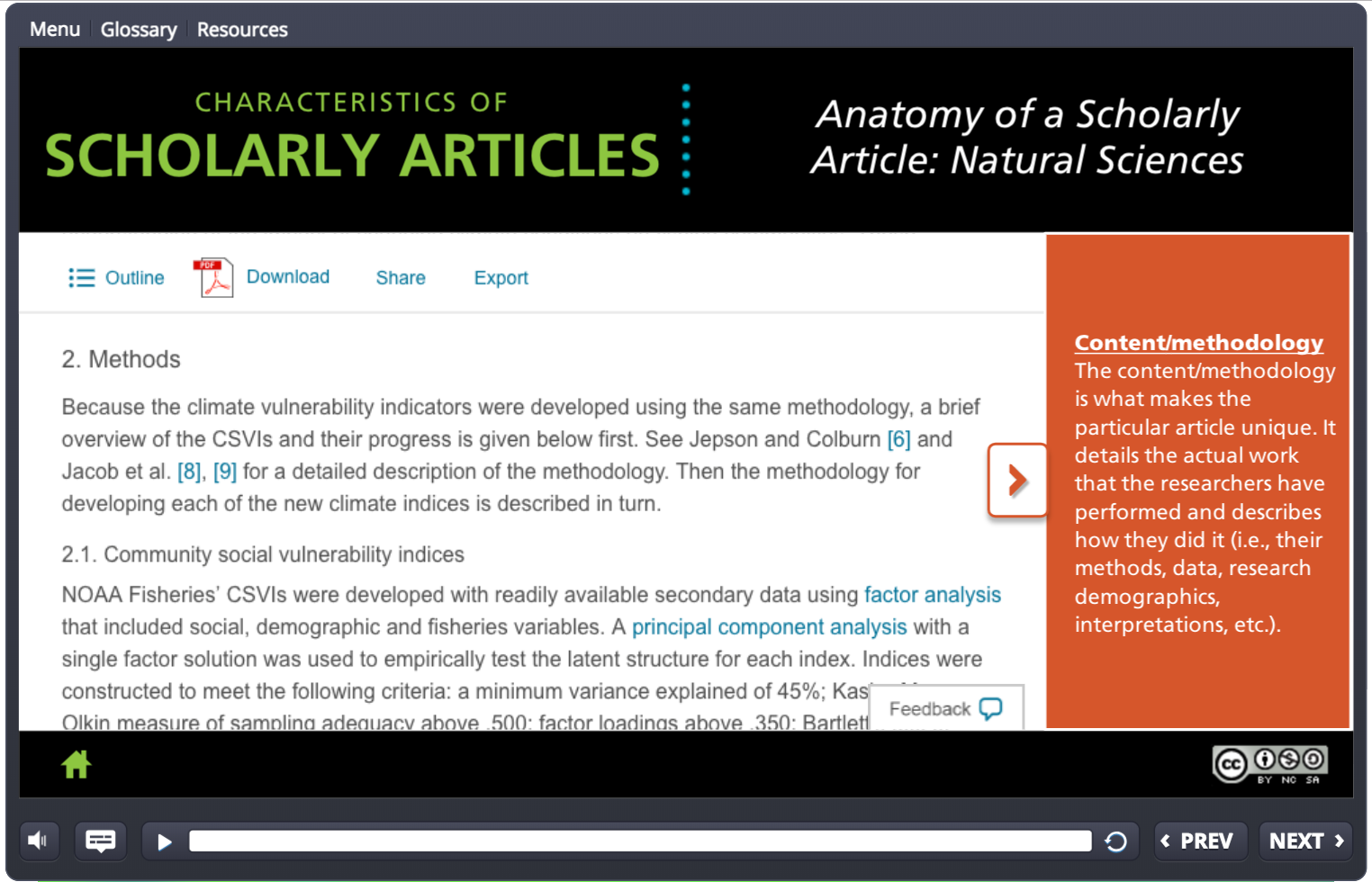 Screenshot: Characteristics of Scholarly Articles tutorial