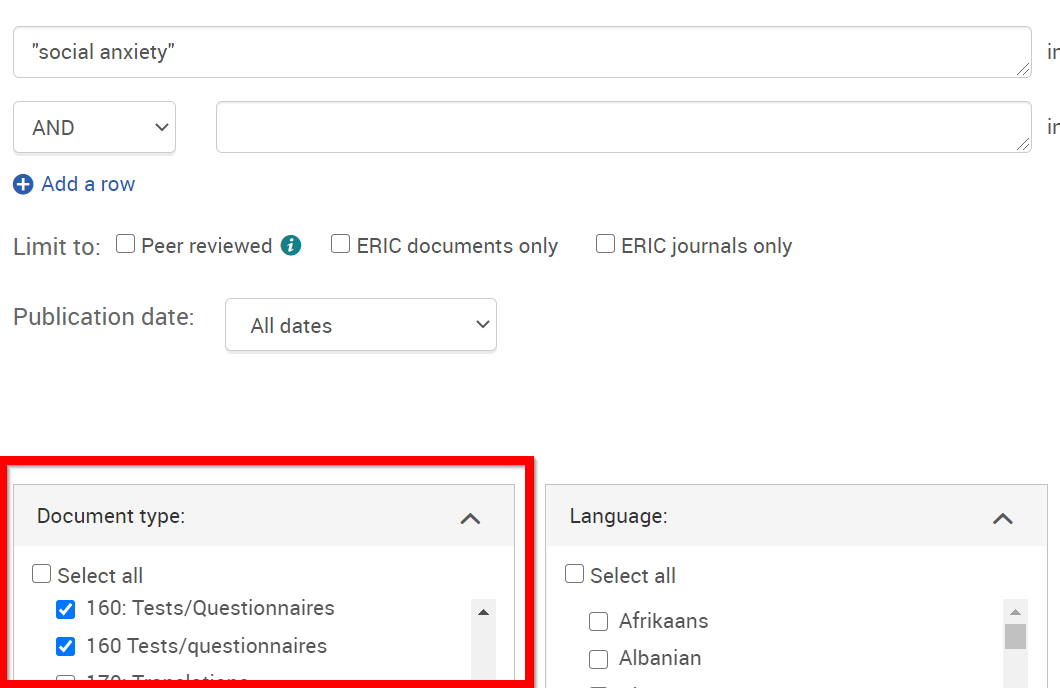 example of ERIC search with Document Types selected