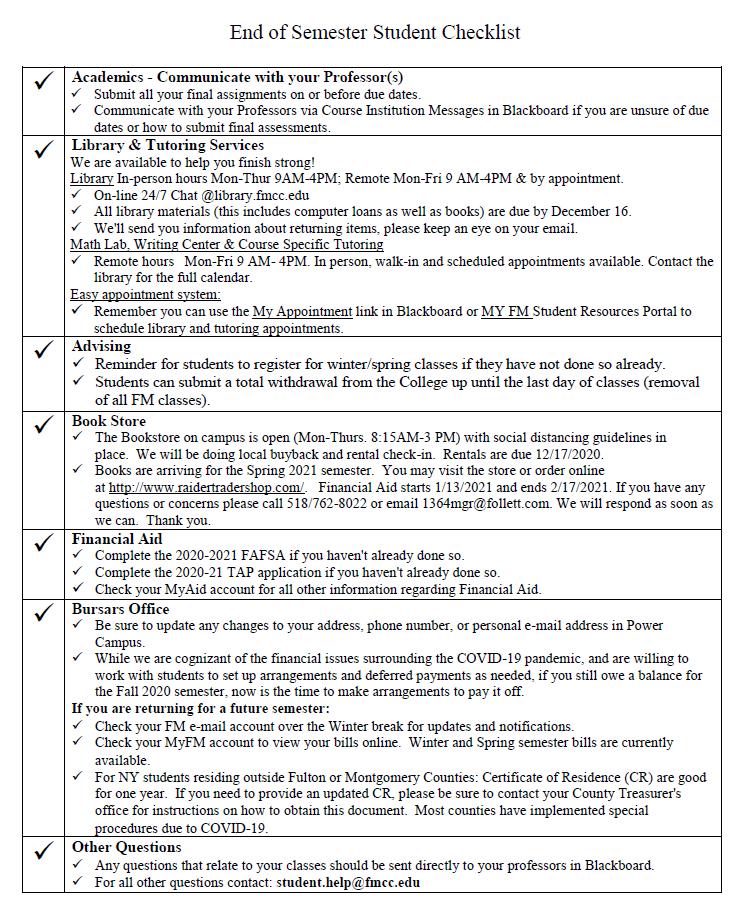 end of semester checklist