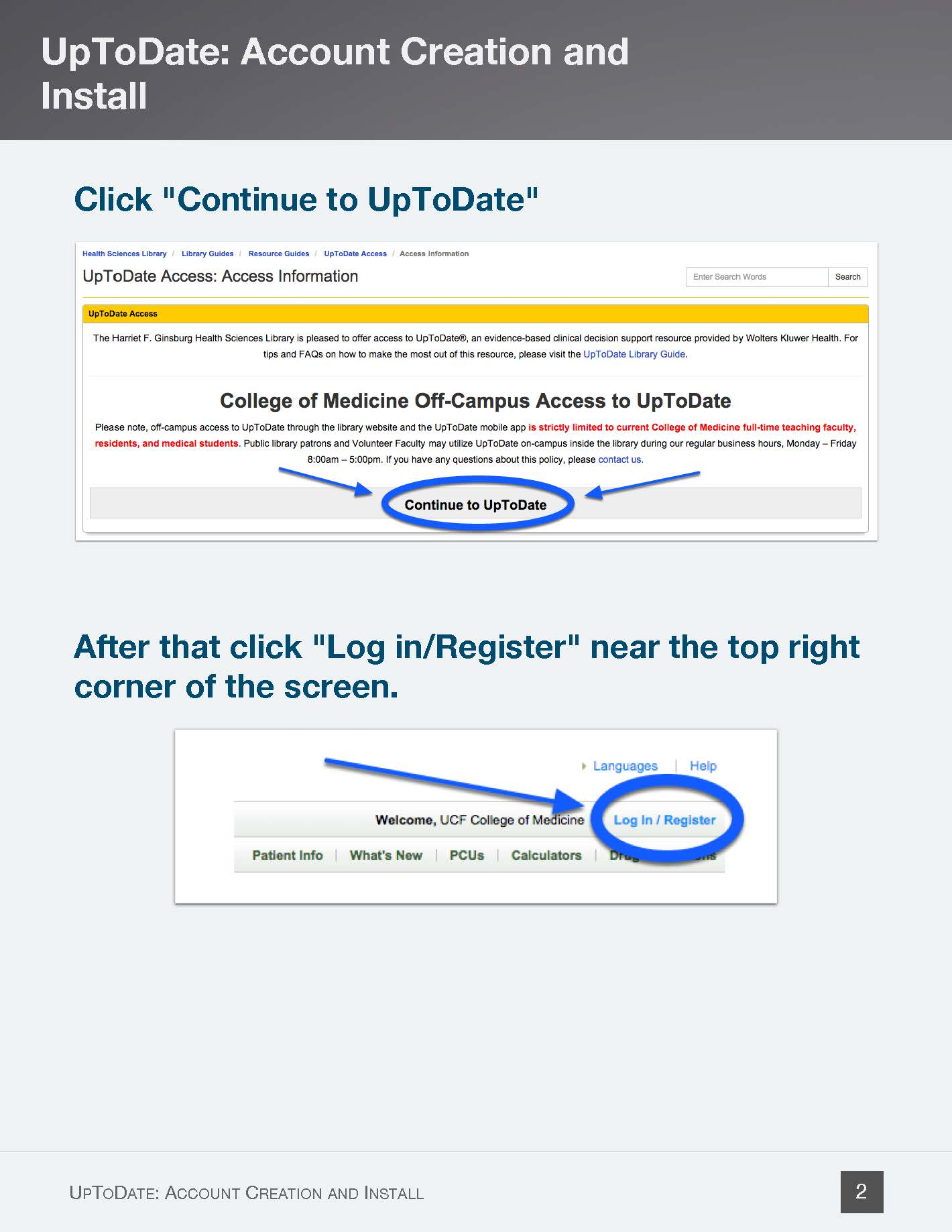 Click Continue to UpToDate; in UpToDate click Log In/Register - Page 2