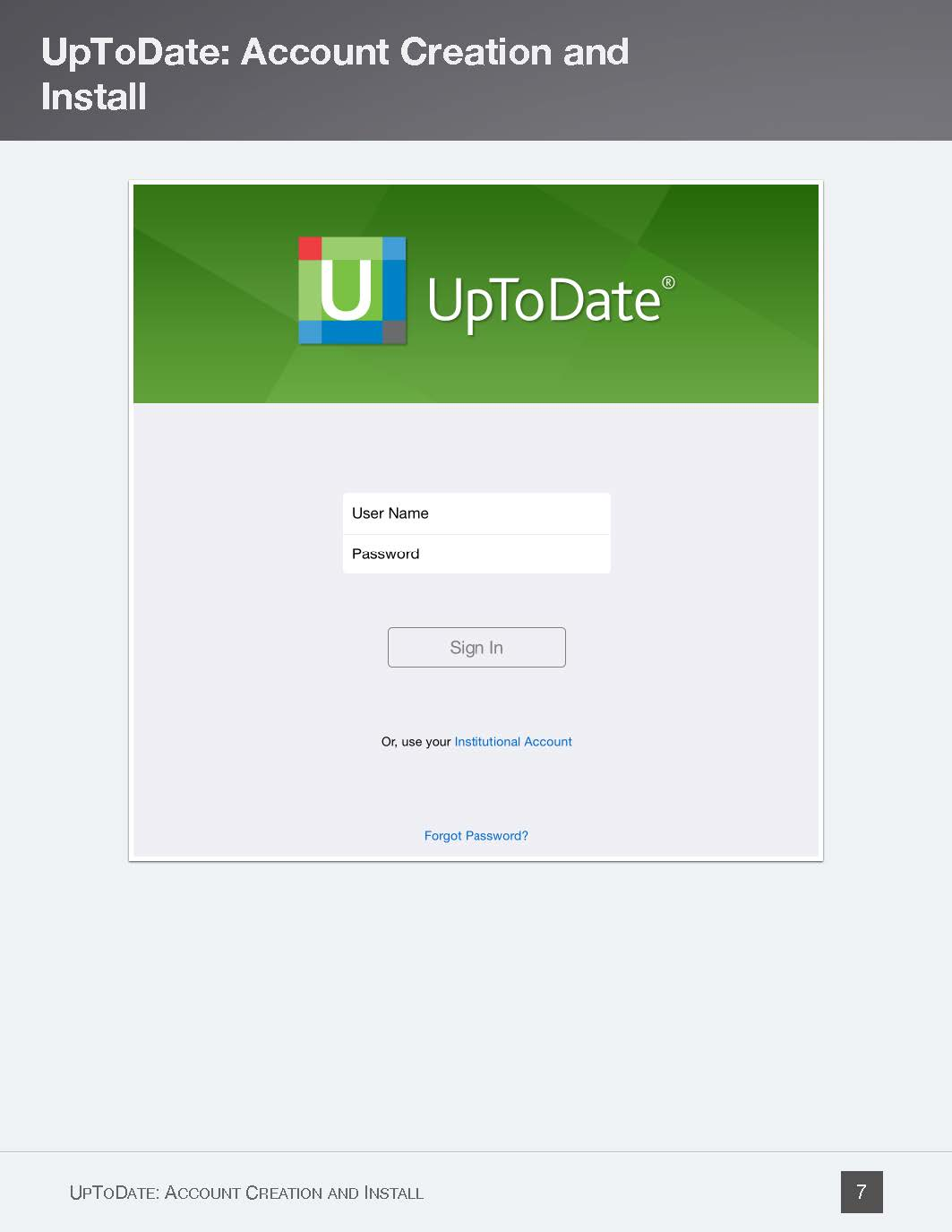 UpToDate app login screenshot - Page 7