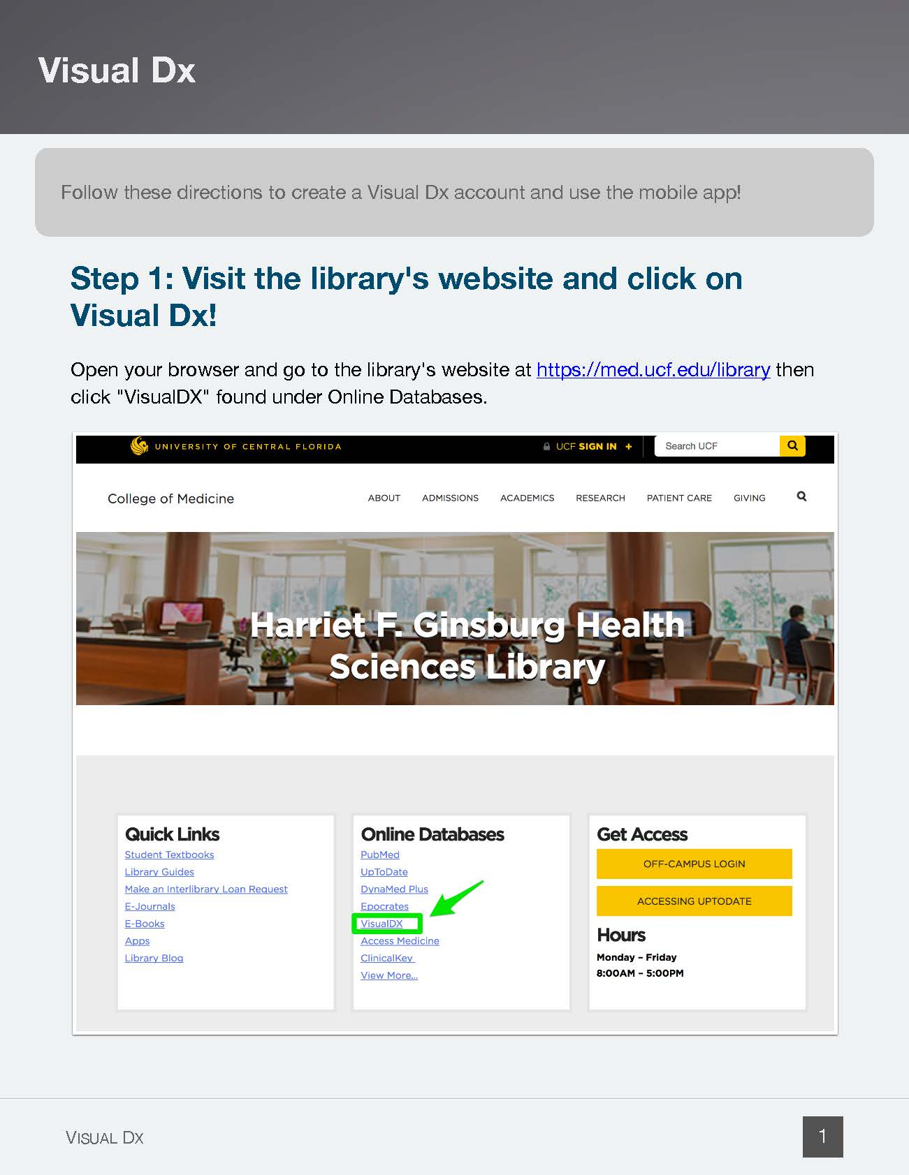Open VisualDX on the HSL website - Page 1