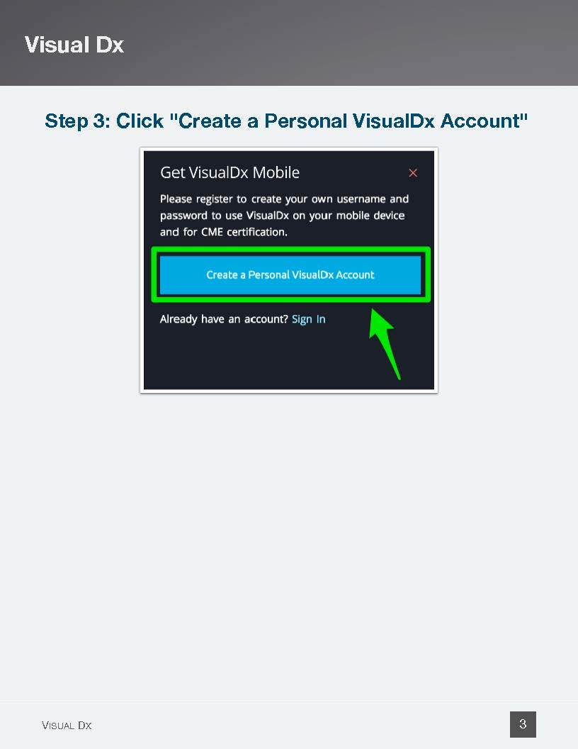 Click on Create a Personal VisualDX Account - Page 3