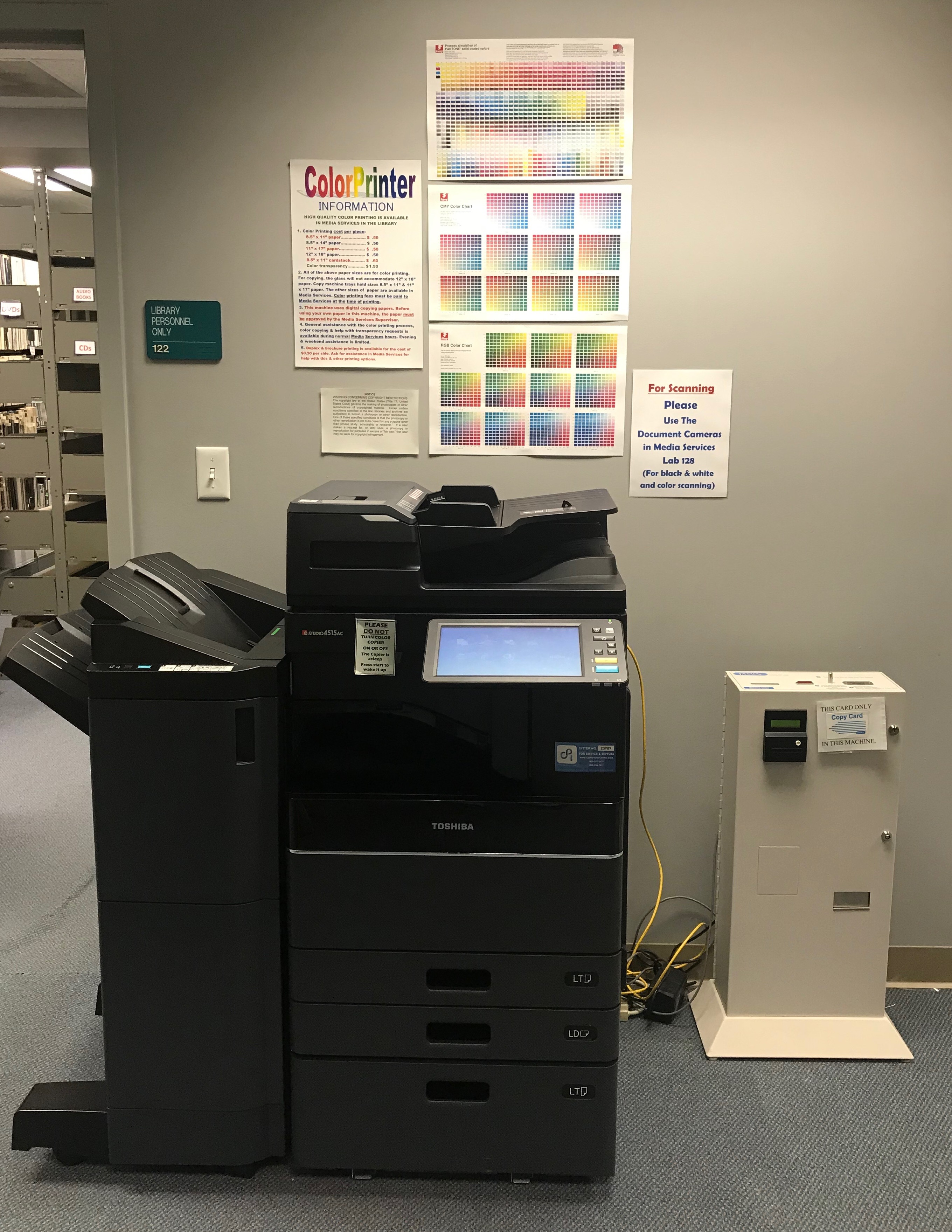 Color copier located in Media Services