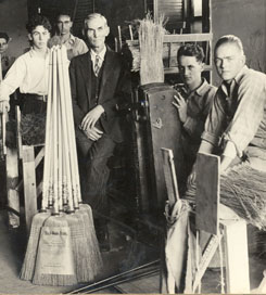 Image of students making brooms in the Broom Factory.
