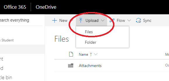 upload to onedrive