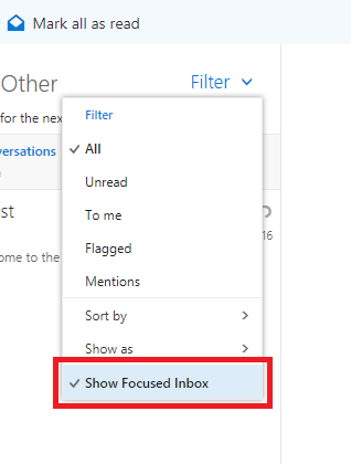 Focused inbox option
