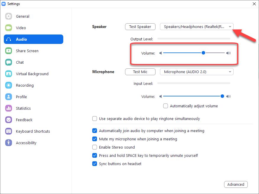 Adjusting Zoom's volume settings