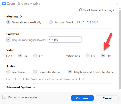 Zoom's video settings for hosts