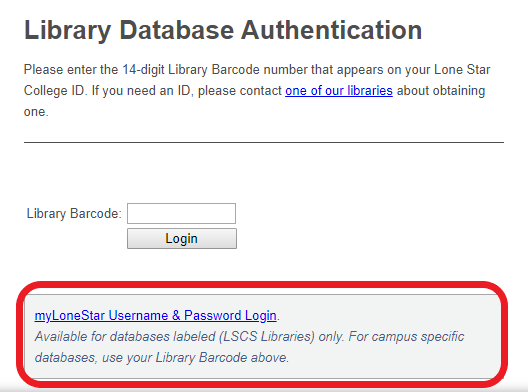 Library database authentication screen