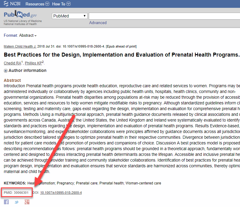 Screenshot of PubMed article result with an arrow pointing to the PMID below the article abstract