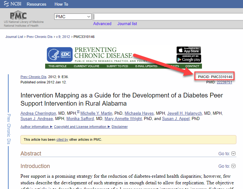 Screenshot of PubMed article result with the PMCID highlighted and an arrow pointing to it