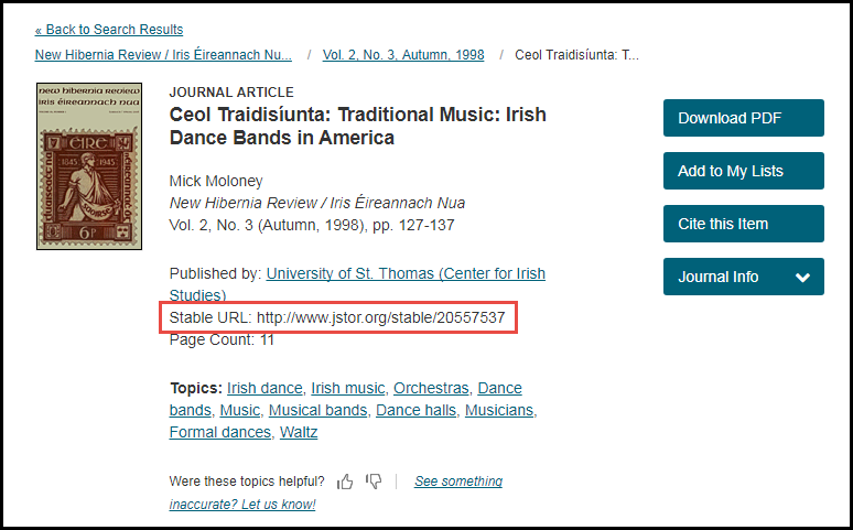 Screenshot of JSTOR record result with the stable URL highlighted. Other information for the record include options such as Download PDF and links to other topics