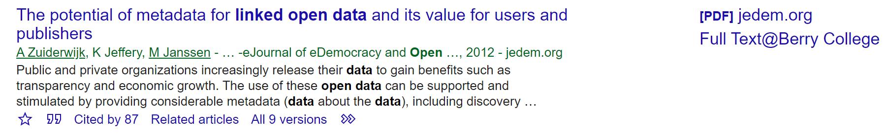 Google Scholar entry