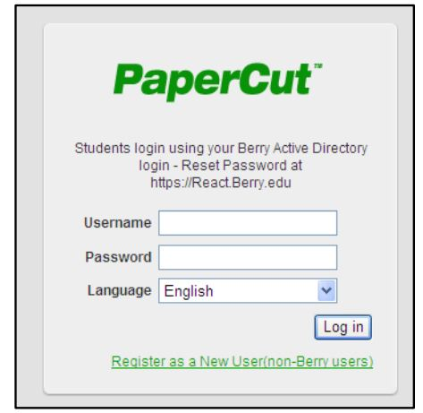 PaperCut Login using your Berry Active Directory