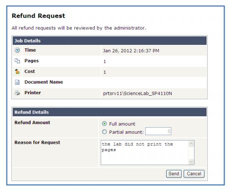 PaperCut Fill out refund request form
