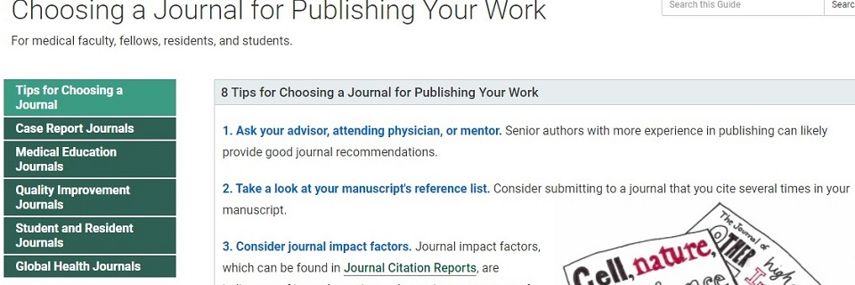 Choosing a Journal for Publishing Your Work