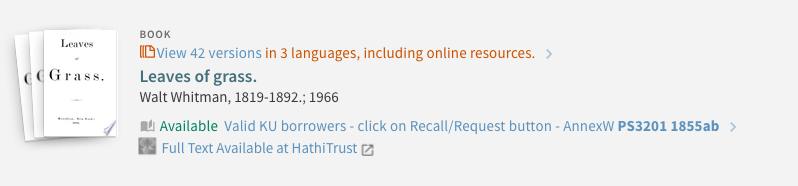 Record display of HathiTrust full text access.