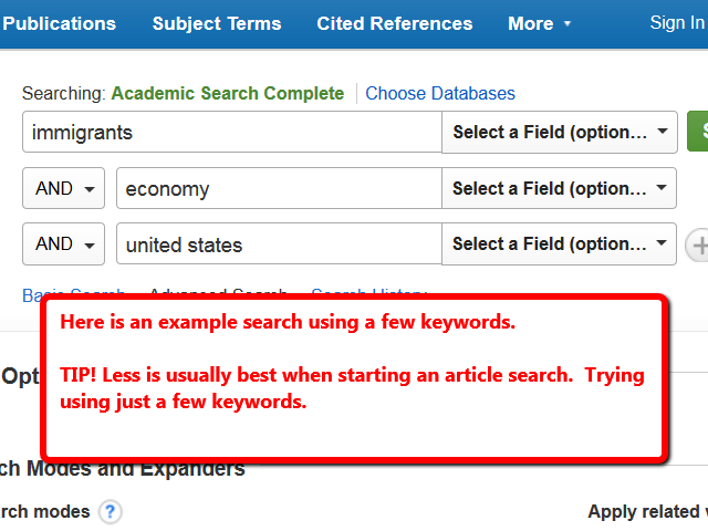 Example search strategy using the keywords immigrants, economy and United States shown in Academic Search Complete.