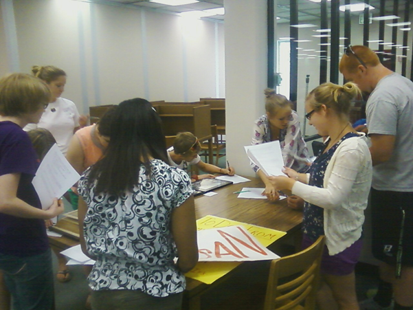 Honors 250 Students working with archives