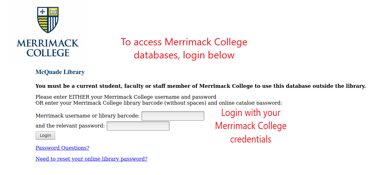 Off-campus login page for McQuade Library databases