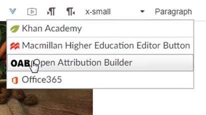 Screenshot of Open Attribution Builder tool in Canvas toolbar