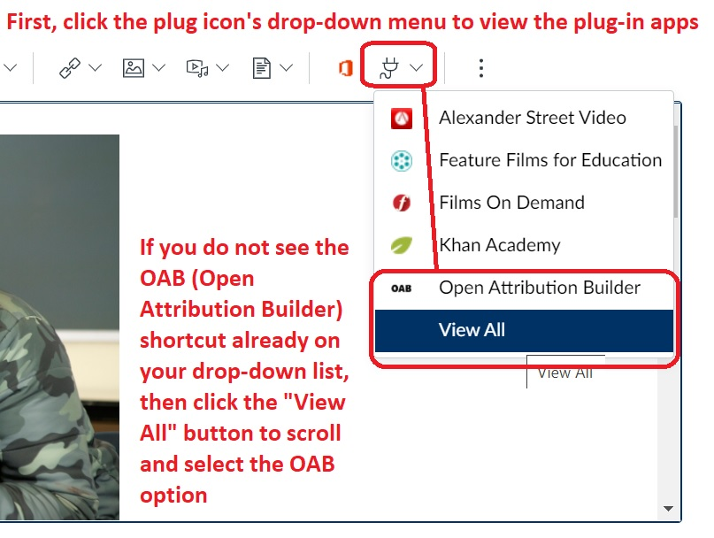 OAB tool in the plug icon menu in the Canvas toolbar