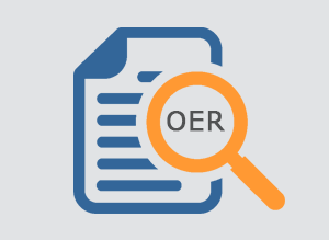 Graphic of document and OER magnifying glass