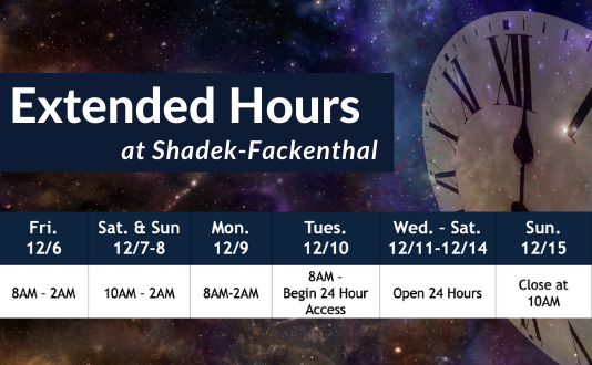 Extended Hours at Shad. Click for more info.
