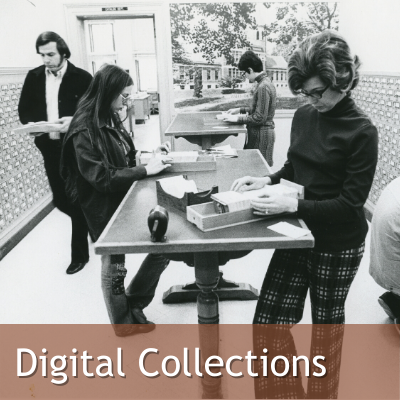Digital Collections Link, Image: Black and White Photo of Students using the old SFL Card Catalogue