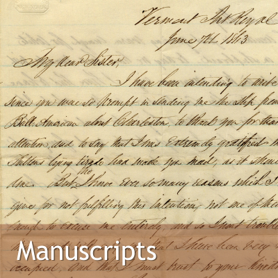 Link to Manuscripts, Image: handwritten letter