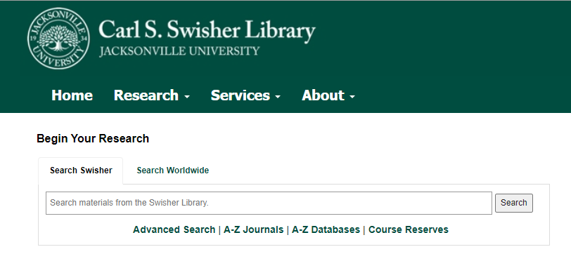 Screenshot of the library's catalog search box on the homepage.