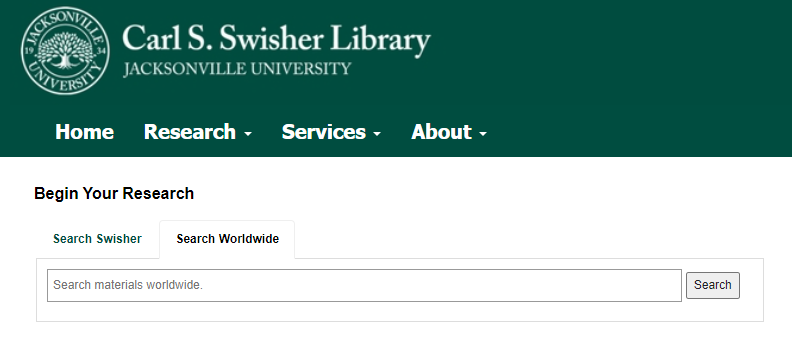 A screenshot of the library's search box to search worldwide.