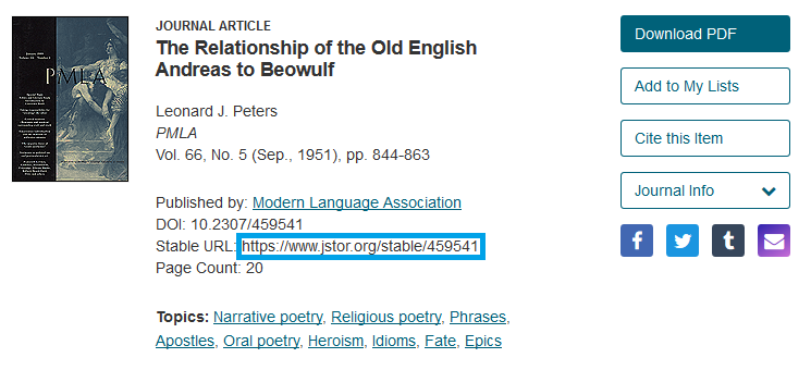 Access the permalink for JSTOR results by copying the Stable URL of the article.
