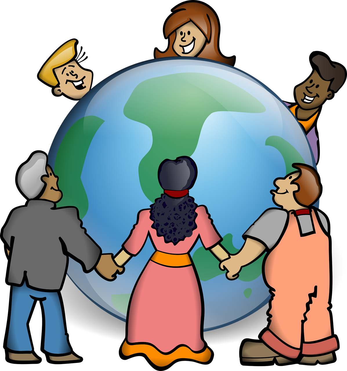 Photo of people standing around globe