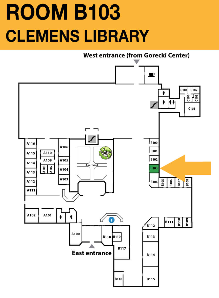 Location of <strong>CSB Clemens Library room A103