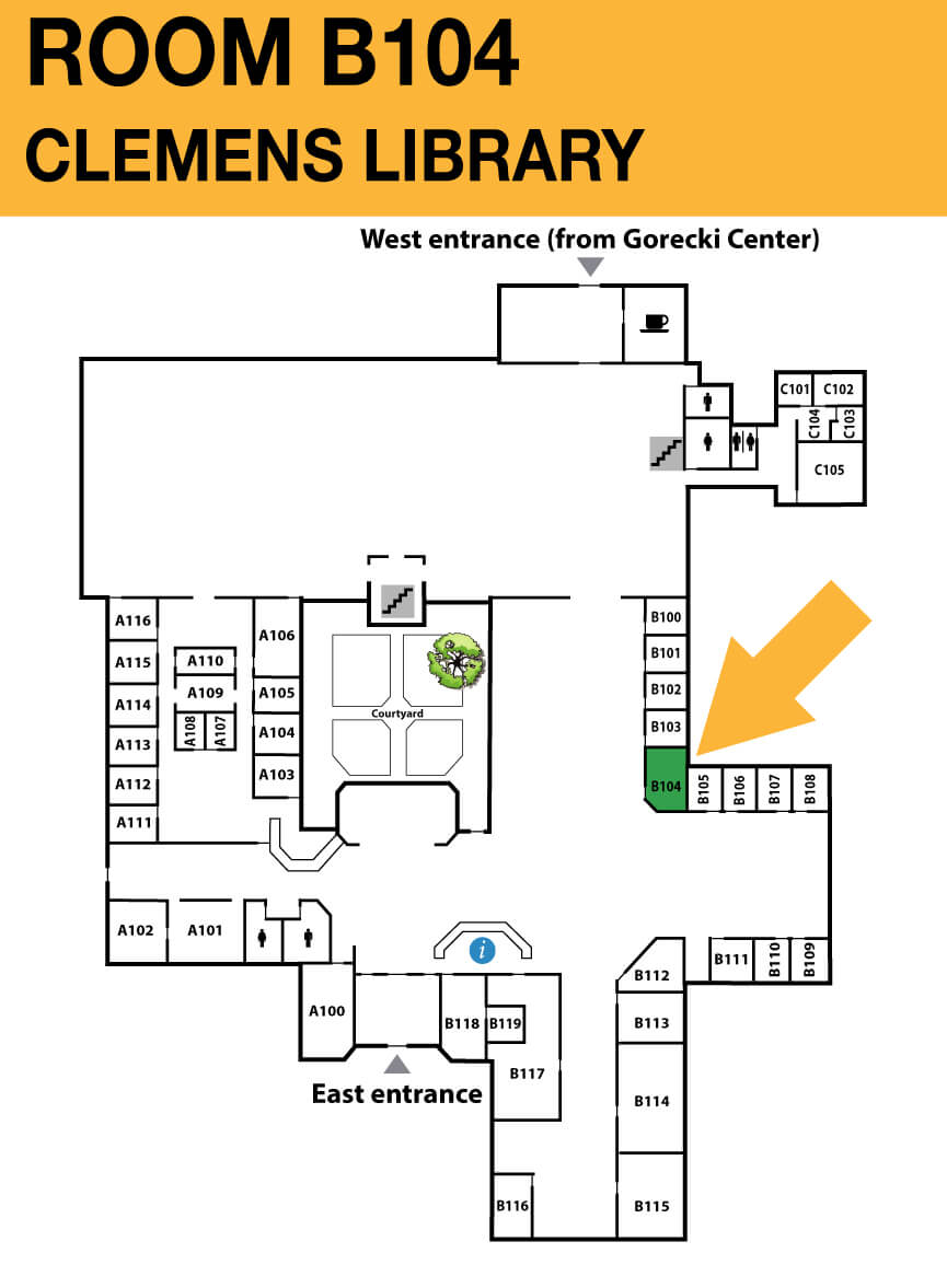 Location of <strong>CSB Clemens Library room A104