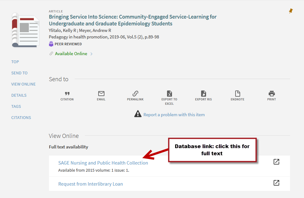 Example of Get It @ Fisher results page with a full-text link, pointing to the SAGE Journals database