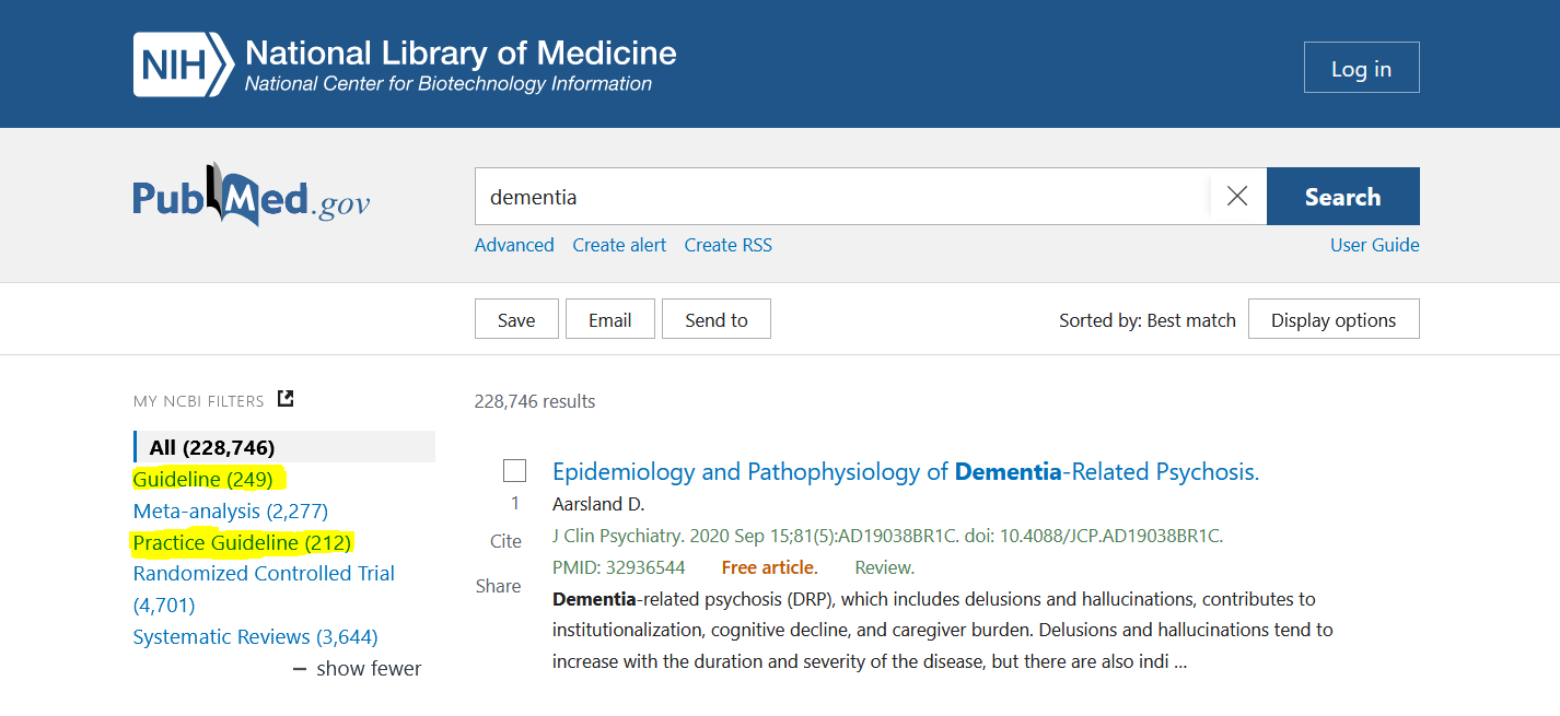 """Two search filters in PubMed, """"guideline"""" and """"practice guideline,"""" highlighted on a screenshot."""