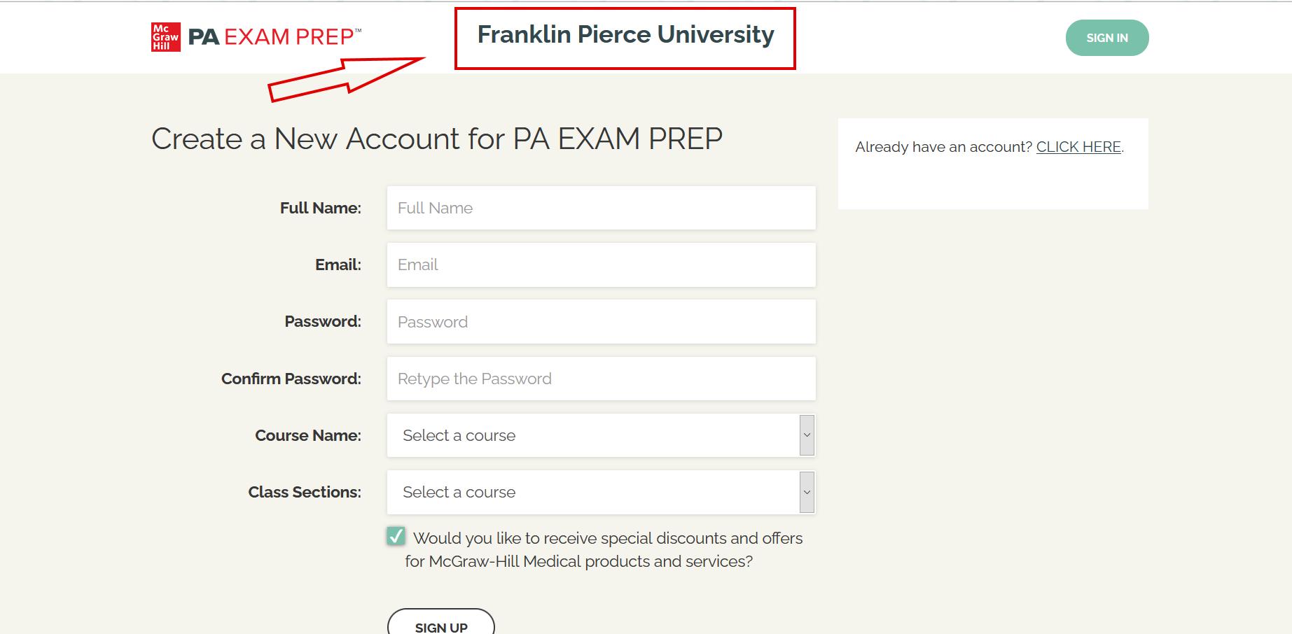 PA Exam Prep Account Creation Screen