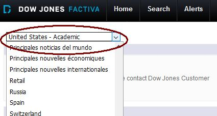 News page selection on Factiva