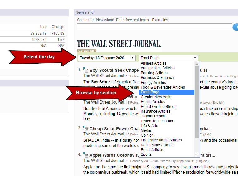 Browse sections at Factiva