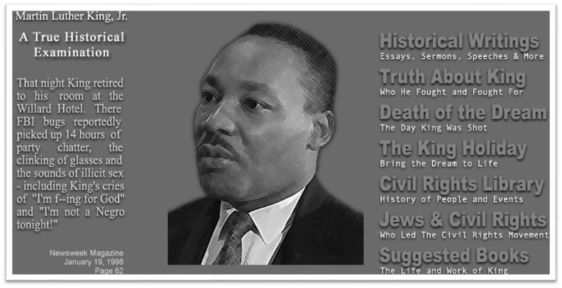 Homepage of martinlutherking.org with links to fake biographical information