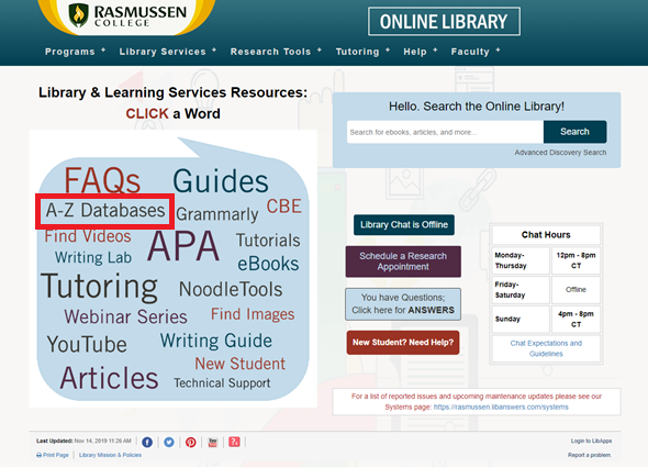 Highlights A-Z Database link on the library's homepage