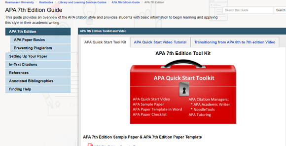 Homepage of Rasmussen's APA 7th Edition Guide