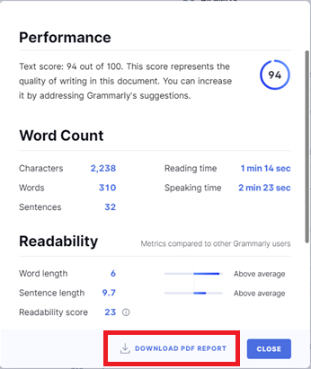 Download PDF Report link in Grammarly