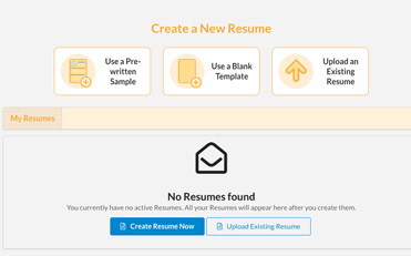 Screenshot of Create a New Resume page with listing of existing resumes and options for creating a new one.