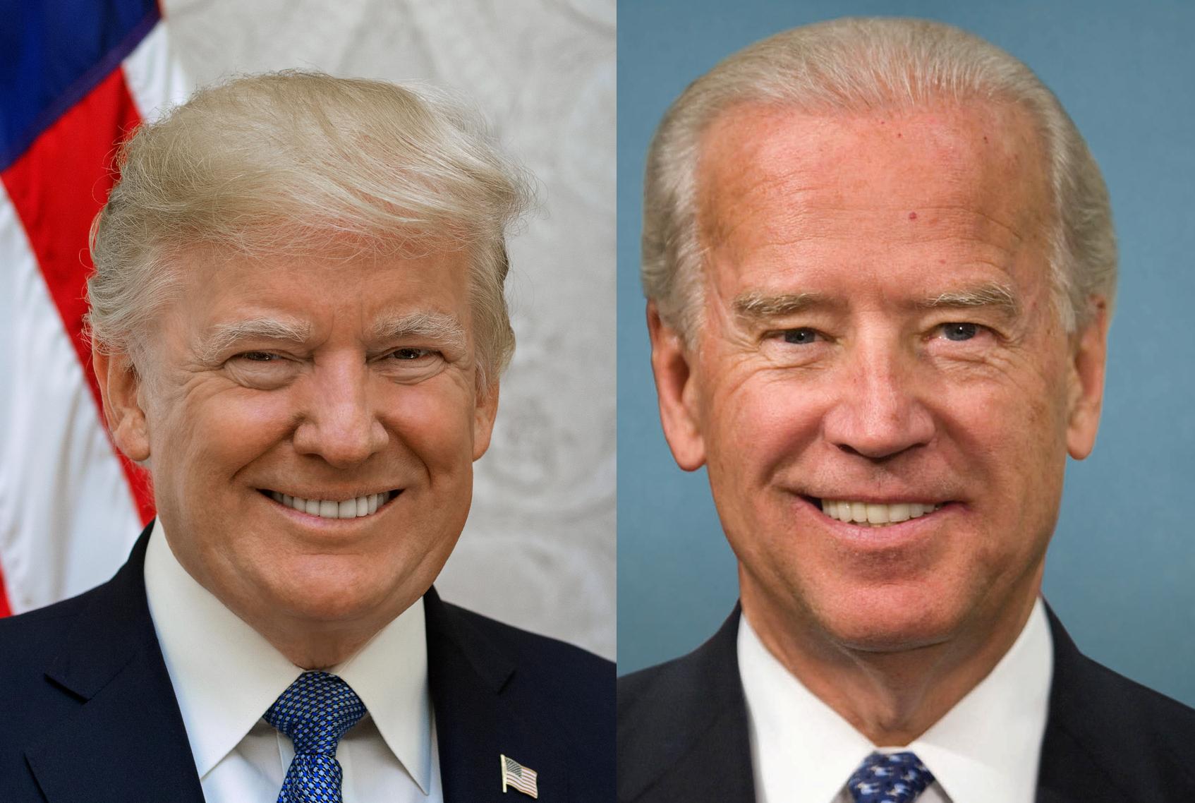 Photographs of Donald Trump and Joe Biden
